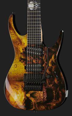 Dean Guitars Rusty Cooley 7-String Skullz, 7-String Electric Guitar,Signature Model, Alder Top/Body, Bolt On Neck Construction with R.C. thomann spec/shape