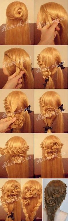 "Rose Bud Flower Braid Hairstyle - Beautiful Hairstyle Tutorials For Every Occasion [ ""Rose Bud Flower Braid Hairstyle, tutorial by sliafb. The two bottom braids look unnecessary; Chic Hairstyles, Braided Hairstyles Tutorials, Pretty Hairstyles, Wedding Hairstyles, Rose Hairstyle, Style Hairstyle, Perfect Hairstyle, Hair Tutorials, Hairstyle Ideas"