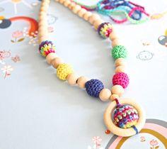 Bright multicolor nursing necklace. Mom and baby by nihamaj, $25.00 Adorable !!!!