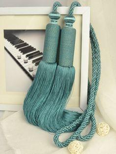 5 Colors QYM08 Faux Silk Curtain Tassel Tie Backs in Dark Blue Color