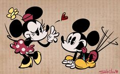 Minnie and Mickey Minnie Mouse Images, Mickey Mouse Art, Mickey Love, Mickey Mouse Wallpaper, Disney Mouse, Mickey Mouse And Friends, Disney Wallpaper, Walt Disney, Disney Mickey
