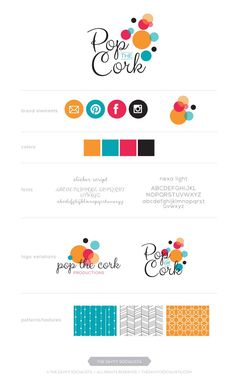 Brand Board option for Pop The Cork Productions, designed by The Savvy Socialista. Brand Identity Design, Branding Design, Design Packaging, Identity Branding, Corporate Design, Brochure Design, Visual Identity, Typography Design, Logo Inspiration