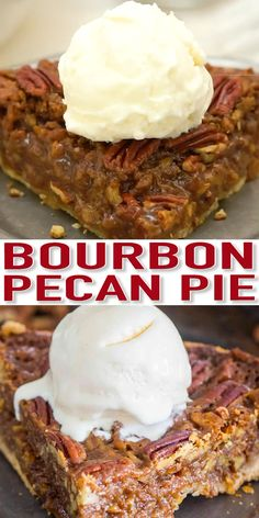 Homemade Pecan Pie with Bourbon [VIDEO] - Sweet and Savory Meals - - Homemade Pecan Pie is unbelievably good and rich. The homemade crust is buttery and the pecan filling has been flavored with bourbon. Holiday Desserts, Easy Desserts, Holiday Recipes, Delicious Desserts, Tart Recipes, Best Dessert Recipes, Baking Recipes, Baking Hacks, Bread Recipes