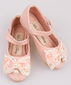 Look what I found on #zulily! Pink Lace Pearl Bow Ballet Flat #zulilyfinds