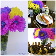 Table Decorations for Fiesta Party | Mexican Fiesta Table Centerpiece - Partyful.co Notice the limes in the bottom of the vases. Taco Bar Party, Fiesta Party, Table Centerpieces, Centerpiece Ideas, Table Decorations, Party Themes, Party Ideas, Bridal Shower, Baby Shower
