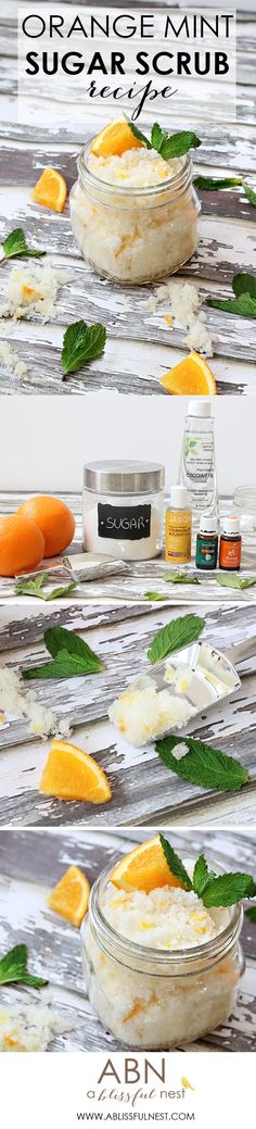 A simple recipe to make orange mint sugar scrub. Leaves your skin smooth and soft while exfoliating. Check out ablissfulnest.com for the full recipe!