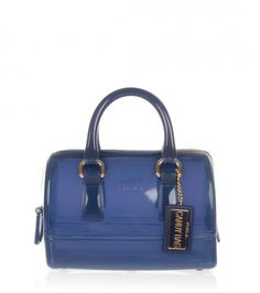 #Furla indigo mini box #satchel crafted in PVC, featuring double handles, removable shoulder strap, logo in relief, unlined interior, double handles with 19 cms drop and zip closure.