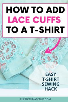 Sewing Hacks, Sewing Tutorials, Sewing Tips, Sewing Ideas, Sewing Projects, Diy Lace Sleeves, T Shirt Hacks, Sewing Clothes, Diy Clothes