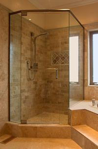 Stand Up Shower, With A Separate Soaker Tub To The Side. Like Going To