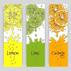 Citrus fruit banners by Microvector on Creative Market Fruit Packaging, Packaging Design, Branding Design, Logo Design, Juice Bar Design, Juice Logo, Food Graphic Design, Tropical Fruits, Citrus Fruits