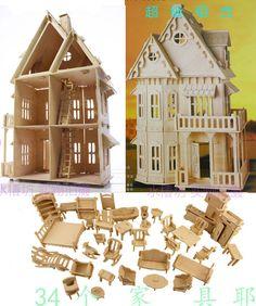 """Cheap 21 casa de muñecas de madera 3D """" de las casas de madera muñeca 6 habitaciones y muebles, Compro Calidad Casas de Muñecas directamente de los surtidores de China:      No es sólo una construcción normal de juguete ,       después   usted buiit , Usted encontrará que es         DICHO"""