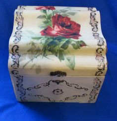 celluloid boxes   Celluloid Covered Collar and Cuff Box Red Rose from rachelsattic on ...