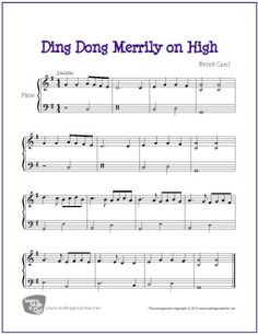 Ding Dong Merrily On High | Free Easy/Intermediate Piano Sheet Music (Digital Print) - Visit MakingMusicFun.net for more free and premium Christmas sheet music, music lesson plans, and great composer resources.