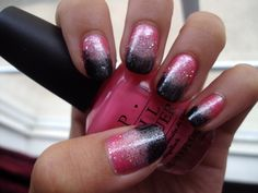 Pink and black gradient nails. Definitely trying this next.