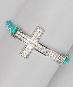 Another great find on #zulily! Turquoise Leather Braid Rhinestone Cross Bracelet by I Love Accessories #zulilyfinds