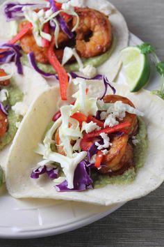 Shrimp Tacos with Green Chili Avocado Salsa