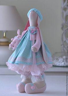 Купить Зайка Lea - 39 cм - бледно-розовый, мятный цвет, светло-бирюзовый