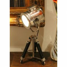 Tripod Table Lamp Marine Nautical Search Light by Fat Shack Vintage. Get it now or find more All Lamps at Temple & Webster. Tripod Table Lamp, Bedside Lamp, Light Table, Lamp Light, Industrial Style Lamps, Industrial Furniture, Cordless Lamps, Lampshade Designs, Table Lamps For Bedroom