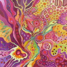 Acrylique et pastel sur toile 80/80cm vernis au jaune d'oeuf. Artiste Patricia Mouton.