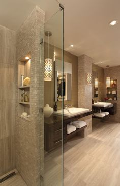 Master Bathroom Renovation - contemporary - Bathroom - Atlanta - Rabaut Design Associates, Inc. Great idea with the shower wall - hides the personal shower items. Contemporary Bathrooms, Modern Bathroom, Small Bathroom, Bathroom Showers, Minimalist Bathroom, Contemporary Shelves, Staircase Contemporary, Relaxing Bathroom, Modern Staircase
