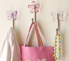 Butterfly Hooks & Flower Hooks #PotteryBarnKids $20  Perfect for scarves, purses and necklaces in E' closet