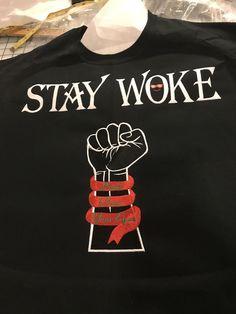 T Shirt Stay Woke Personalized Adult T-Shirt Embroidered T-Shirt Awareness T-Shirt Stay Woke Tee Shirts Urban T Shirt Mens T-Shirt Women's Personalized Tee Shirts, Neck Problems, Shirt Stays, Embroidery Designs, Urban, T Shirt, Etsy, Tops, Fashion