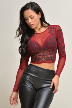 Sheer Beauty Burgundy Lace Crop Top – Fashion Effect Store