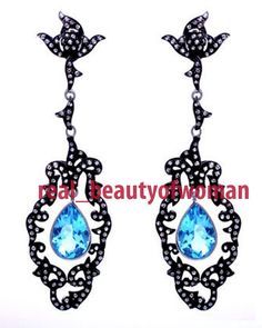 Artdeco Design 3.65cts Single Cut Diamond Blue Topaz 925 Silver Earrings Dangler #realbeautyofwoman #EarringsDangle