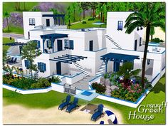 fully furnished and decorated Greek house with 8 baths and pool in the garden Found in TSR Category 'Sims 3 Residential Lots' Villa Design, House Design, Santorini House, Greece House, Greece Architecture, Sims Freeplay Houses, Sims 4 House Building, Minecraft House Tutorials, Mansion Designs