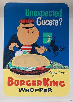 1960's Burger King Ad. The size of the whopper, even adults had to hold with two hands, that's why they cut them in half before giving them to you.