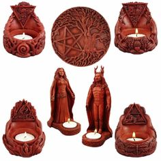 Altar Tealight Statuary Collection - pagan wiccan witchcraft magick ritual supplies