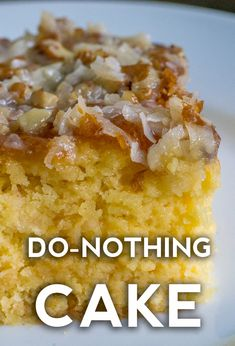 Can sub with a gluten free cake mix - Do Nothing Cake. Evaporated milk and pecans or walnuts (your choice!) add a creamy and crunchy texture that can't be beat. It tastes good enough to make you close your eyes and dream you're on a vacation! Cake Mix Desserts, Easy Desserts, Delicious Desserts, Homemade Desserts, Dump Cake Recipes, Baking Recipes, Dessert Recipes, Recipes Using Cake Mix, Recipes Dinner