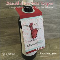 Carolina Evans - Stampin' Up! Mini Liquor Bottles, Wine Bottle Tags, Wine Bottle Covers, Wine Tags, Wine Bottle Crafts, Beer Bottles, Christmas Cards 2018, Christmas Ideas, Christmas Tree