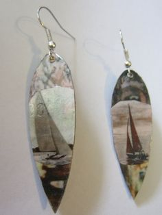 Surfboard Dangle Earrings with Sailboat by keeperofthedragonfly,