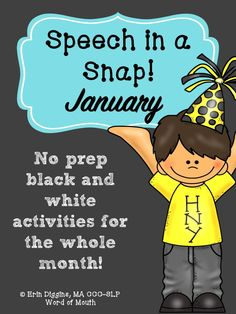 No-Prep activities for easy-peasy speech therapy planning or homework! New Years and MLK Day themes. [Word of Mouth]