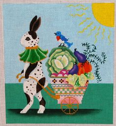 Spotted Rabbit w/Vegetable Cart 18 mesh 7.5x8.5 in.  Reg. $139.50, Trunk Show $111.60