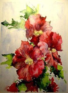 Hollyhocks by Tania Vasylenko. Watercolor by lottie