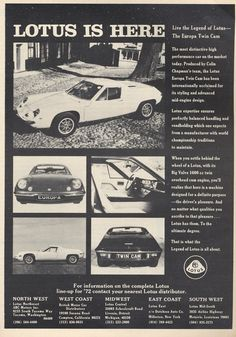 brochure lotus europa - Google Search High Performance Cars, Lotus Car, Hail Storm, Metal Signs, Vintage Looks, Classic Cars, Twins, Engineering, Plane