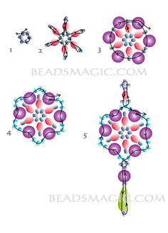 Free pattern for earrings Adriana - 2------------------ U need: seed beads 11/0 bicone beads 4mm bicone beads 6mm pearl beads 6 mm crystal drops
