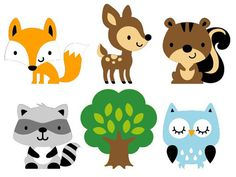 Set de 6 bosques mueren Animal corta / Woodland bebé ducha
