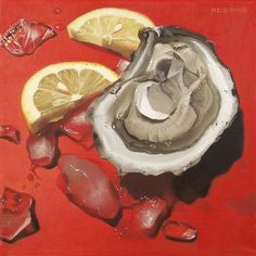 """Oyster, Ice, Lemon, 12""""x12"""", oil on linen. #oysters @ellopainting"""