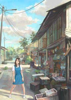 village schoolgirl by chong feigiap - Anime Characters by Chong FeiGiap Anime Art Girl, Manga Art, Anime Girls, Kawaii, Bg Design, Scenery Wallpaper, Anime Scenery, Ghibli, Art Pictures