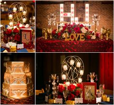 "Vintage Circus theme red, gold, black and white wedding decor. Ferris-wheel tea-light candle holders, red and white roses with gold leaves, vintage books with key accents, crystal and gold candle holders. Gold vintage circus elephant and ""LOVE"" decor. Custom circus light wedding monograms. Gold Art Deco wedding cake. The Mitten Building, Redlands CA. www.rachaelhallweddings.com"