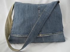 RePurposed Denim Messenger Bag.  Don't even think about cutting up your Levis.  Shop a Thrift Store! www.facebook.com/waterfrontbargaincenters