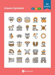 Greece Symbols   Icon Pack - 30 Filled Outline Icons App Design, Icon Design, Greece Tattoo, Greek Icons, Greek Design, 5th Grade Art, The Future Is Now, Symbolic Tattoos, Icon Pack