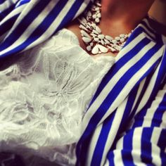 Blue and white striped blazer with bulky necklace!! Perfection...