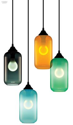 Helio by Niche Modern. With bright colors and a slender form, just 5 inches across, these pendant fixtures can make a statement in clusters or alone.