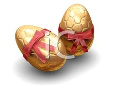 iCLIPART - Royalty Free 3D Clipart Image of Two Golden Easter Eggs With Bows