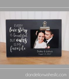 This personalized Love Story wedding picture frame is a beautiful wedding display or wedding centerpiece. It makes a fun bridal shower, Valentine's Day or anniversary gift as well. The attached photo clip makes it quick and easy to always keep the treasur Bridal Shower Pictures, Shower Pics, Bridal Shower Signs, Bridal Shower Invitations, Mexican Bridal Showers, Disney Bridal Showers, Special Wedding Gifts, Bridal Gifts, Bridal Party Tables