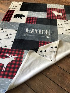 SALE Personalized Baby Blanket Quilt Red and Black Woodland   Etsy Baby Boy Rooms, Baby Boy Nurseries, Baby Room, Plaid Nursery, Cabin Nursery, Western Nursery, Boy Quilts, Baby Boy Blankets, Personalized Baby Blankets